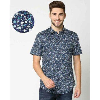 AOP Satin Print Half Sleeve Shirt