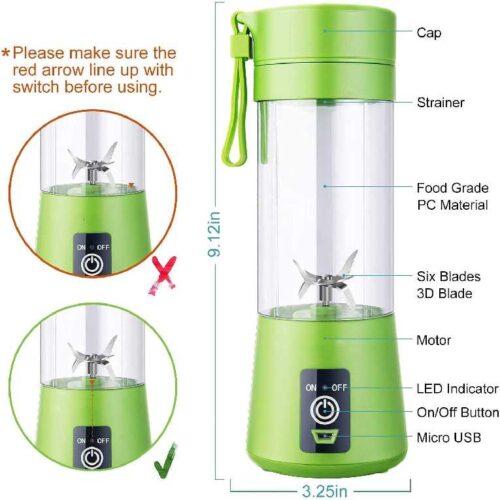 Advance Blender Grinder Mixer Portable Electric USB Juice Maker 6 Blades Rechargeable Bottle Multi color 1