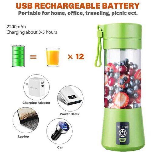 Advance Blender Grinder Mixer Portable Electric USB Juice Maker 6 Blades Rechargeable Bottle Multi color 6