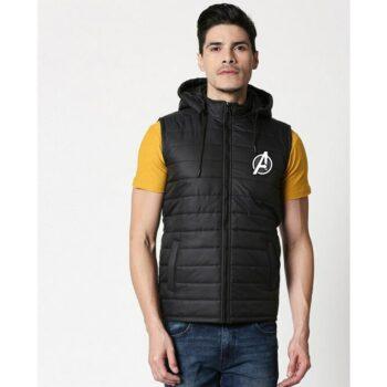 Avengers Logo Sleeveless Puffer Jacket with Detachable Hood