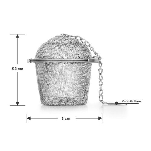 Basket Shaped Tea Infuser with Extended Chain Sturdy Clamp to Lock High Grade Stainless Steel Ideal for Steeping Leaf Teas Flowers Herbs Easy to Use Durable Convenient 1