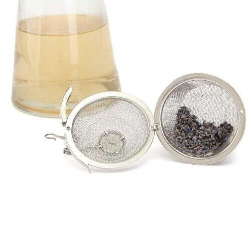 Basket Shaped Tea Infuser with Extended Chain Sturdy Clamp to Lock High Grade Stainless Steel Ideal for Steeping Leaf Teas Flowers Herbs Easy to Use Durable Convenient 3