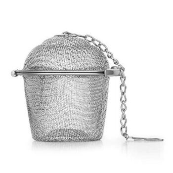 Basket Shaped Tea Infuser with Extended Chain & Sturdy Clamp to Lock_ High Grade Stainless Steel _ Ideal for Steeping Leaf Teas, Flowers & Herbs _ Easy to Use, Durable & Convenient
