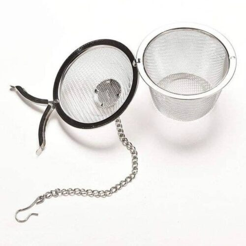 Basket Shaped Tea Infuser with Extended Chain Sturdy Clamp to Lock High Grade Stainless Steel Ideal for Steeping Leaf Teas Flowers Herbs Easy to Use Durable Convenient 4