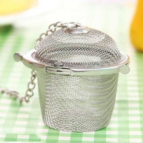 Basket Shaped Tea Infuser with Extended Chain Sturdy Clamp to Lock High Grade Stainless Steel Ideal for Steeping Leaf Teas Flowers Herbs Easy to Use Durable Convenient 6