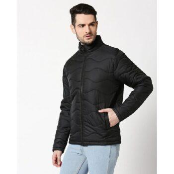 Black Chill Block Wave Puffer Jacket