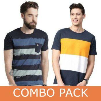 Black Hat Cotton Blend Combo Tshirt for Men