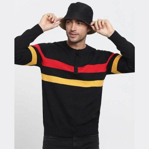 Black Henley Flat Knit Sweater