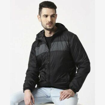 Black Metallic Puffer Jacket