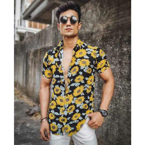 Black Sunflower Print Half Sleeves Shirt