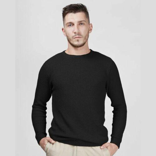 Black Waffle Sweater