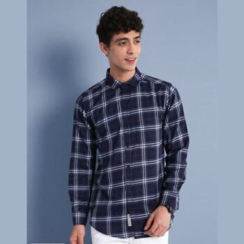 Blended Checkered Full Sleeves Slim Fit Casual Shirt