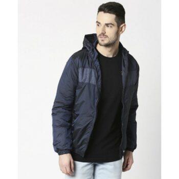 Blue Metallic Puffer Jacket