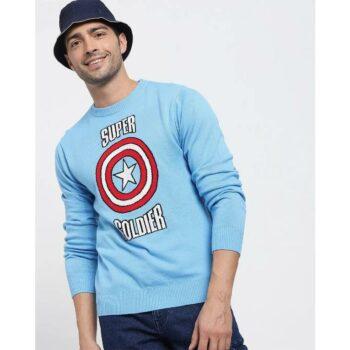 Blue Quartz Full Sleeve Flat Knit Sweater