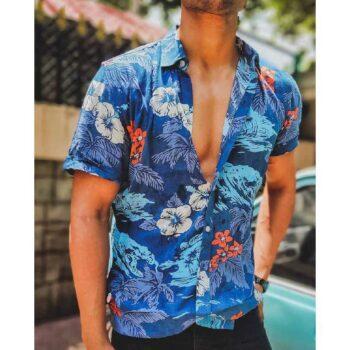 Blue With Orange Flowers Print Half Sleeves Shirt
