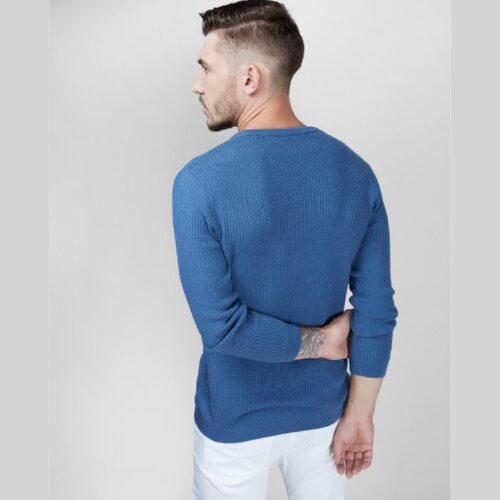 Blueberry Waffle Knit Full Sleeves Sweater