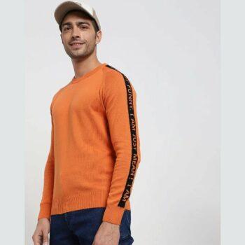 Burnt Orange Shoulder Panel Flat Knit Sweater