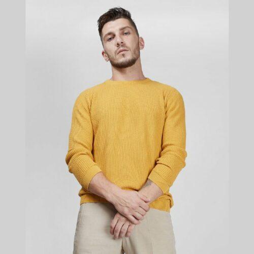 Caramel Waffle Knit Full Sleeves Sweater