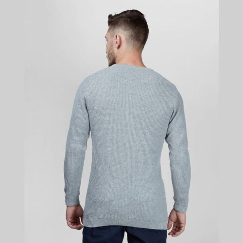 Charcoal Waffle Knit Full Sleeves Sweater