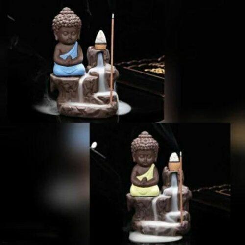Combo Of Monk Buddha Smoke Fountain with 10 Smoke Backflow Cones