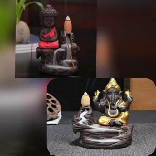 Combo Of Monk Buddha and Ganesha Smoke Fountain with 10 Smoke Backflow Cones
