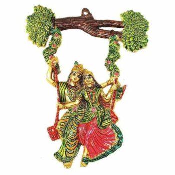 Colourful Radha Krishna Jhula Figure for Wall Hanging Showpiece
