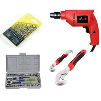 Combo of Powerful Drill Machine with 13 Pieces Drill Bit Set and 41 Pieces Toolkit Screwdriver Combo Set with Snap Grip