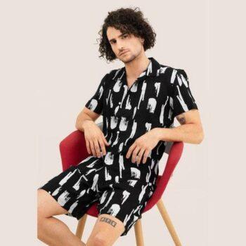 Cotton Blend Digital Print Half Sleeves Regular Fit Casual Shirt With Short