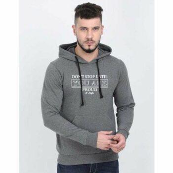 Cotton Blend Slogan Regular Full Sleeves Hoodie for Men
