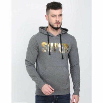 Cotton Blend Slogan Regular Full Sleeves Hoodie for Men - Super Hoodie