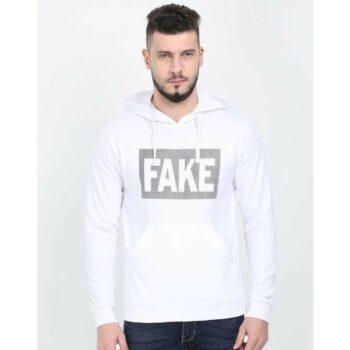 Cotton Blend Slogan Regular Full Sleeves Hoodie for Men - Fake Printed Hoodie