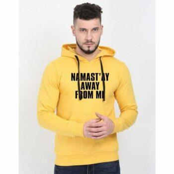 Cotton Blend Slogan Regular Full Sleeves Hoodie for Men - Namastay Away From Me Hoodie