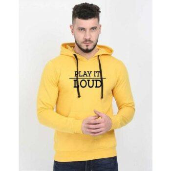 Cotton Blend Slogan Regular Full Sleeves Hoodie for Men - Play It Loud Hoodie Yellow