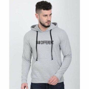 Cotton Blend Slogan Regular Full Sleeves Hoodie for Men - I am Different Hoodie