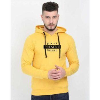 Cotton Blend Slogan Regular Full Sleeves Hoodie for Men - Past Present Future Hoodie