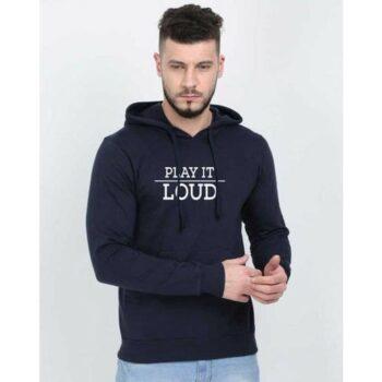 Cotton Blend Slogan Regular Full Sleeves Hoodie for Men - Play It Loud Hoodie