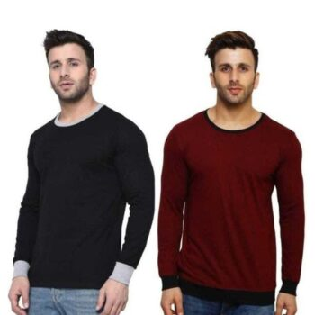 Cotton Blend Solid Full Sleeves Men's Tshirt Pack Of 2