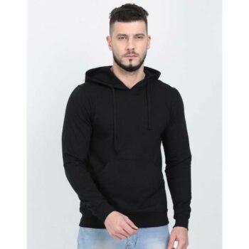 Cotton Blend Solid Regular Full Sleeves Hoodie for Men