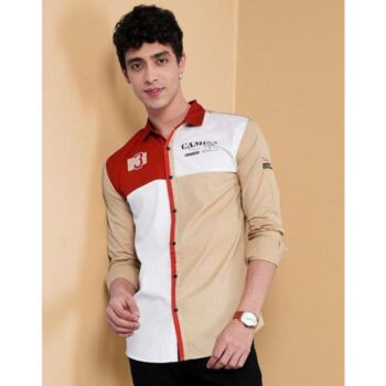Cotton Color Block Full Sleeves Slim Fit Casual Shirt
