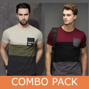 Cotton Color Block & Printed T-Shirt Set of 2
