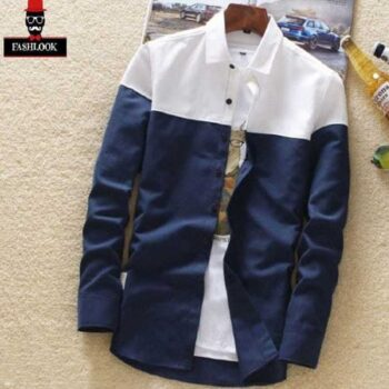 Cotton Color Block Slim Fit Full Sleeves Casual Shirt