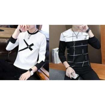 Cotton Printed Full Sleeves T-Shirt (Pack Of 2)