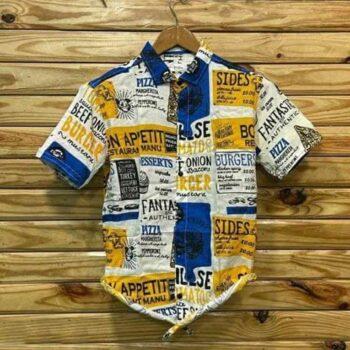 Cotton Printed Half Sleeves Slim Fit Casual Shirt