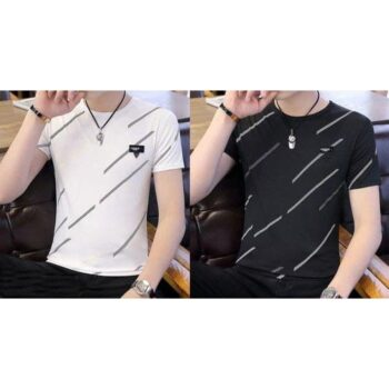 Cotton Printed Half Sleeves T-Shirt (Pack Of 2)