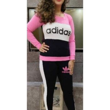 Cotton Rib Stretchable Printed Tracksuit for Women