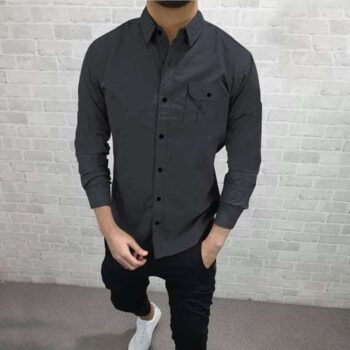 Cotton Solid Full Sleeves Slim Fit Casual Shirt
