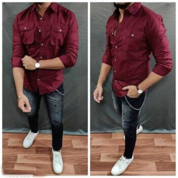 Cotton Solid Full Sleeves Slim Fit Mens Casual Shirt