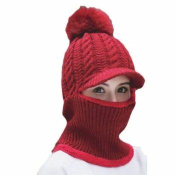 Cozyway Women's Woolen Cap with Neck Muffler