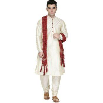 Crepe Silk Solid Regular Fit Kurta with Churidar