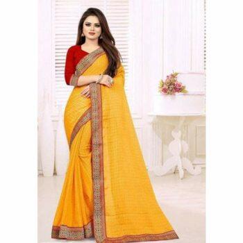Delicate Checks Printed Chiffon Saree With Lace Border